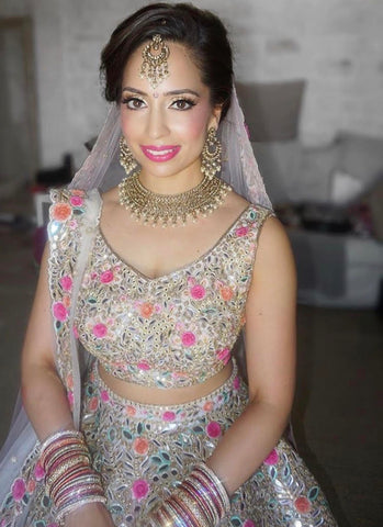 indian bride, antique gold jewellery, polki jewellery, floral lengha