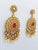 Antique gold polki red earring pearl drops indian wedding mendhi sangeet gold plated