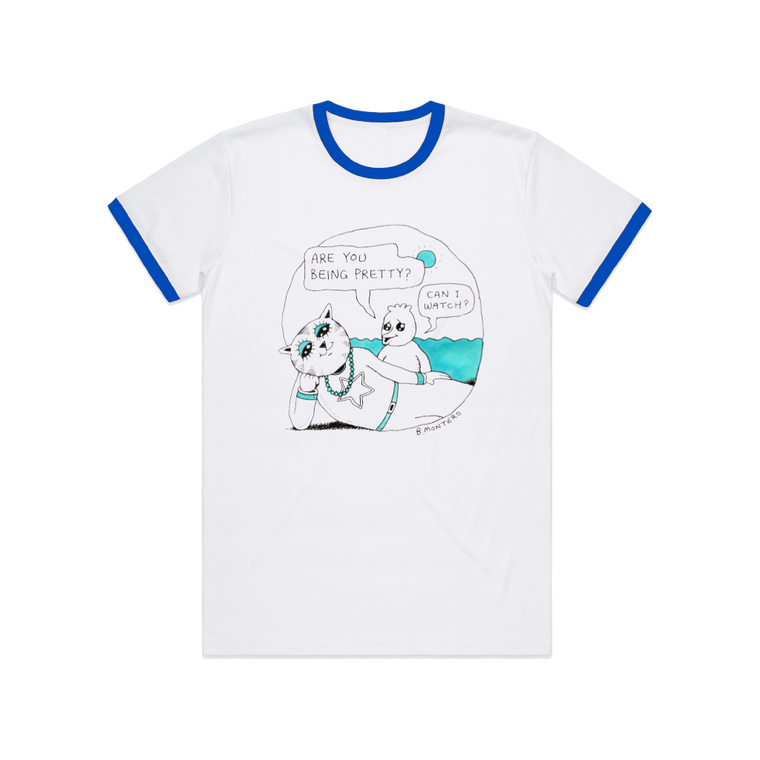 Are You Being Pretty? /  Royal Blue Ringer T-shirt