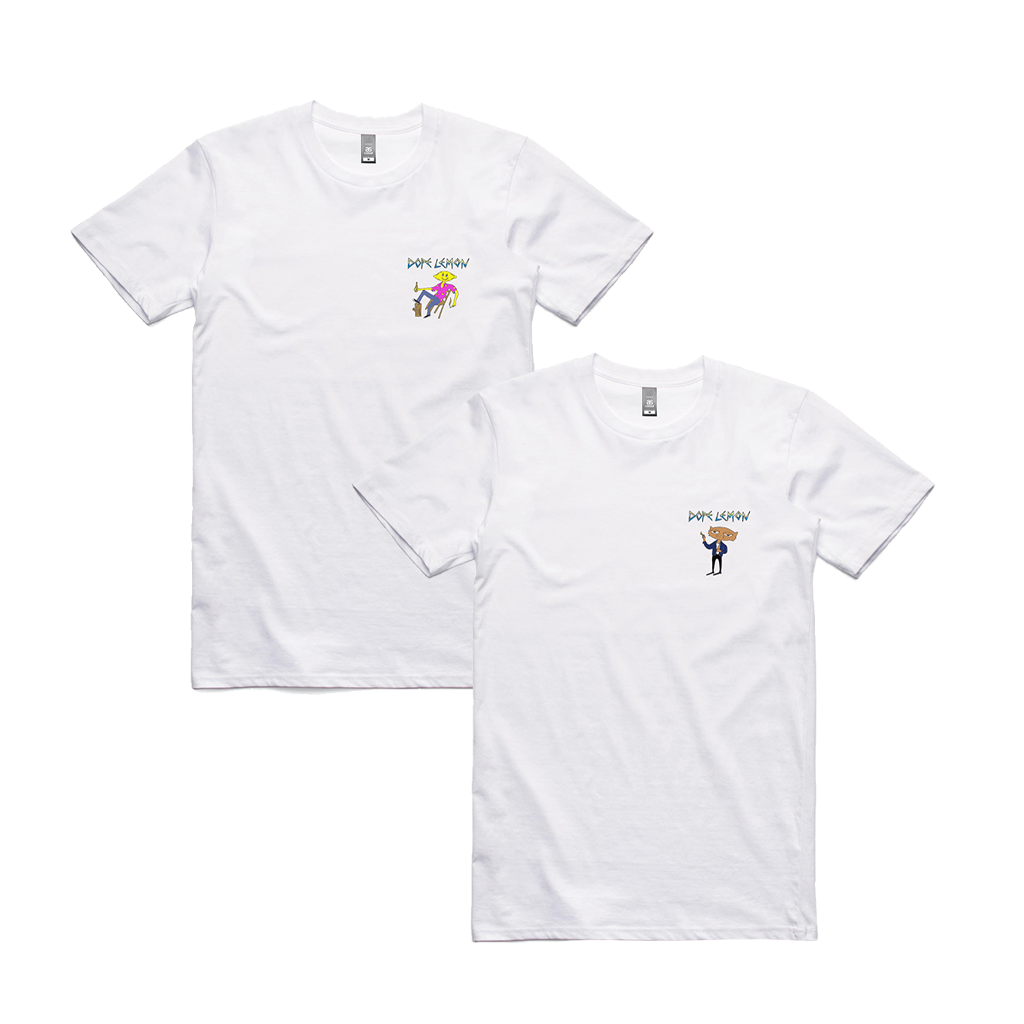 Smoking Cat and Log Lemon Bundle / 2 x White T-Shirts