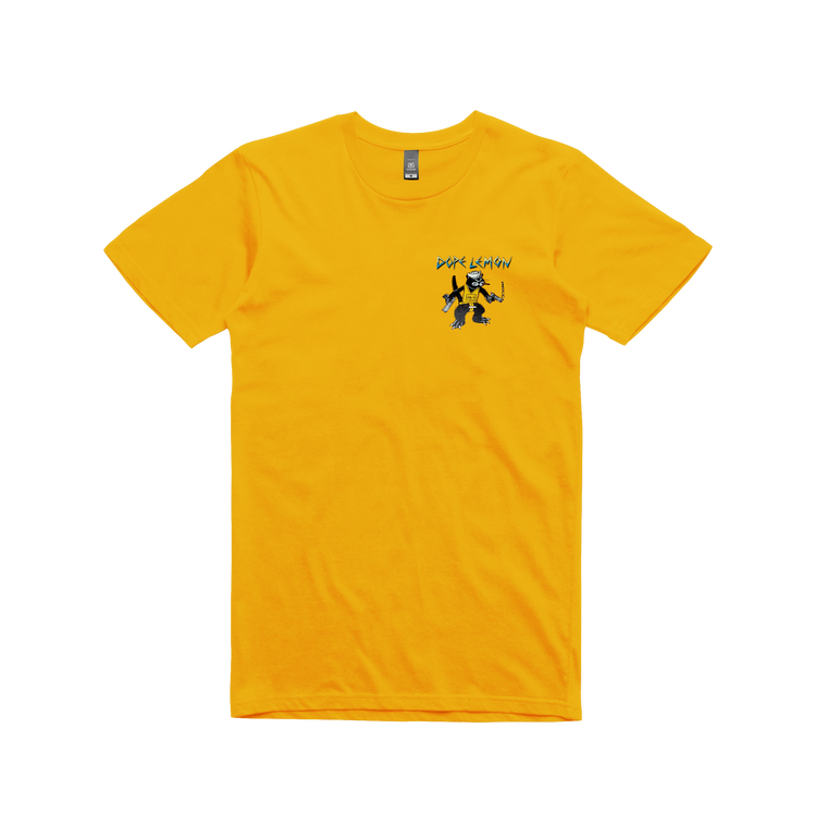 Gun Cat / Gold T-shirt