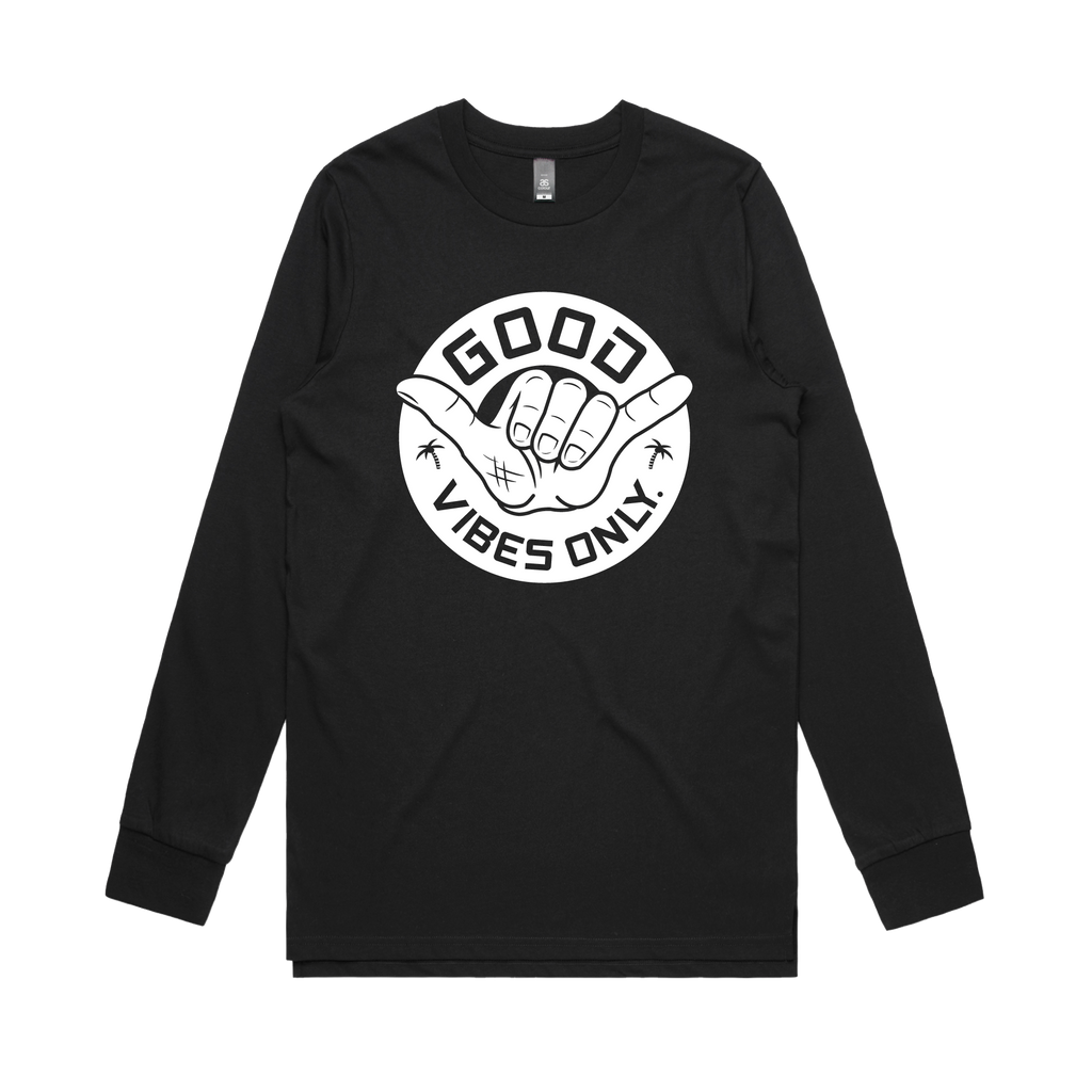 Good Vibes Only Mens Long Sleeve / Black