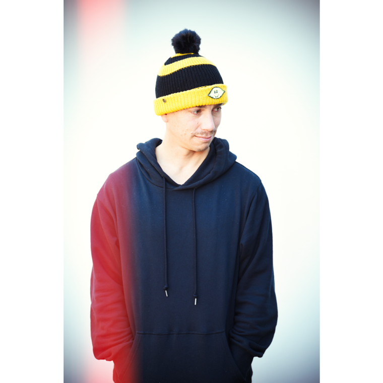 Dope Lemon / Mustard and Black Stripe Beanie