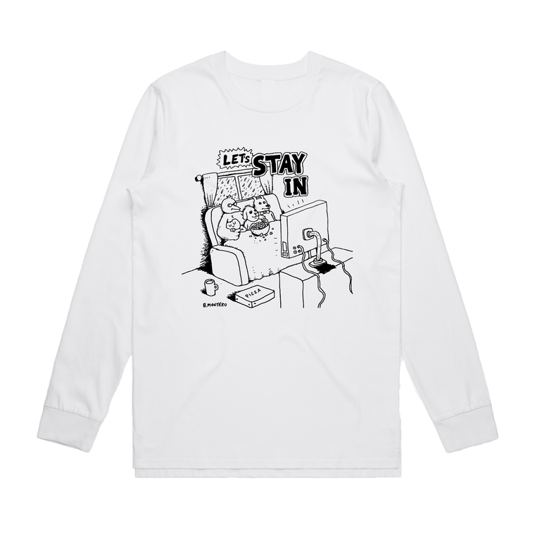 Let's Stay In / White Long Sleeve T-shirt