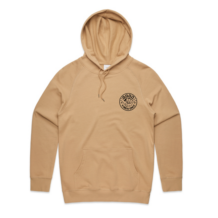 Good Vibes Only Mens Hood / Tan