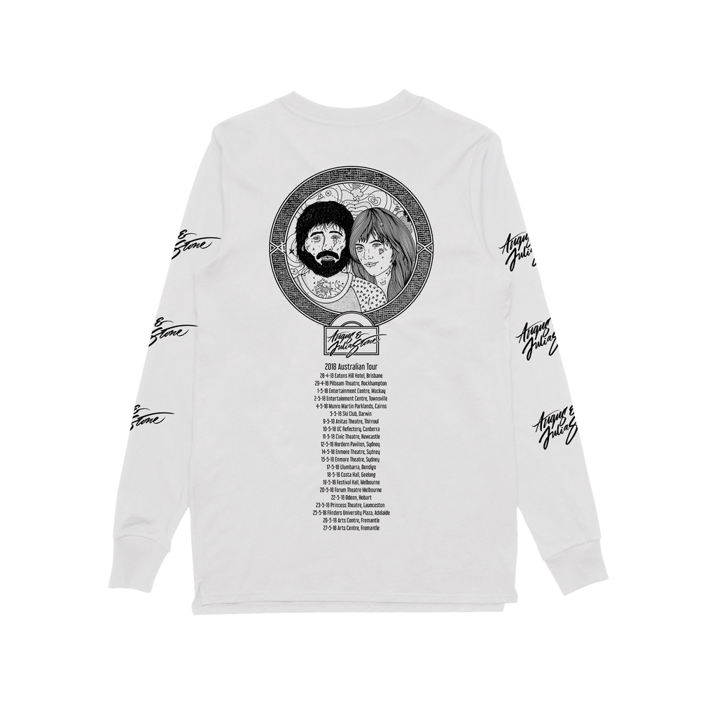 Australian 2018 Tour / Cartoon White Longsleeve T-shirt