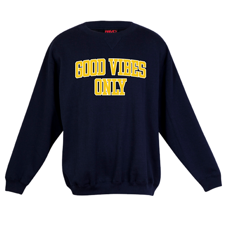 Good Vibes Only Unisex Crew / Yellow & Navy