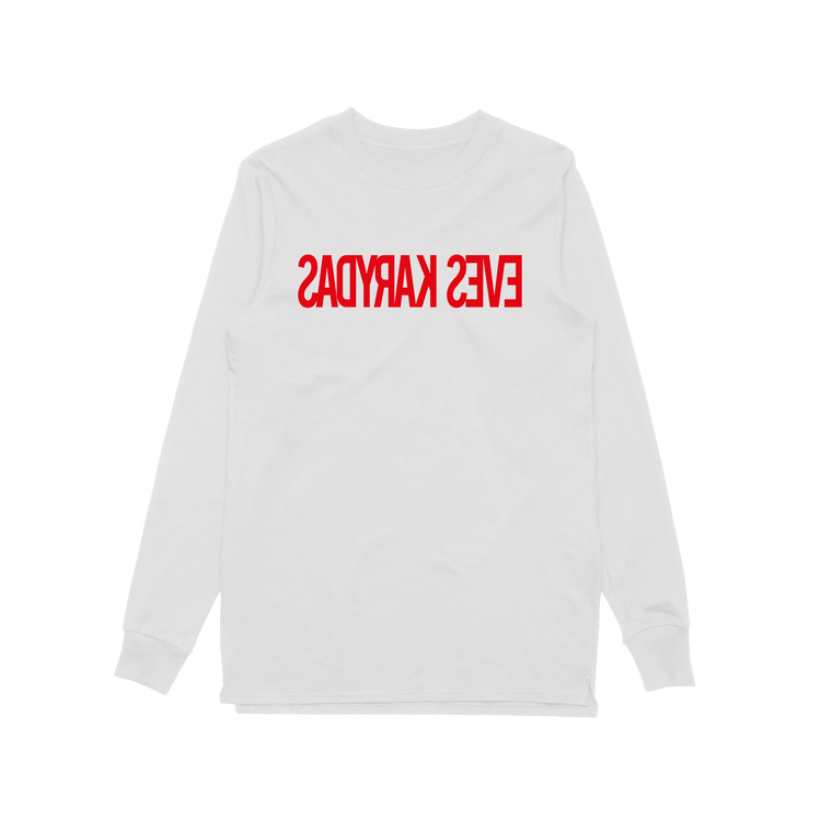 Backwards Logo / White Longsleeve