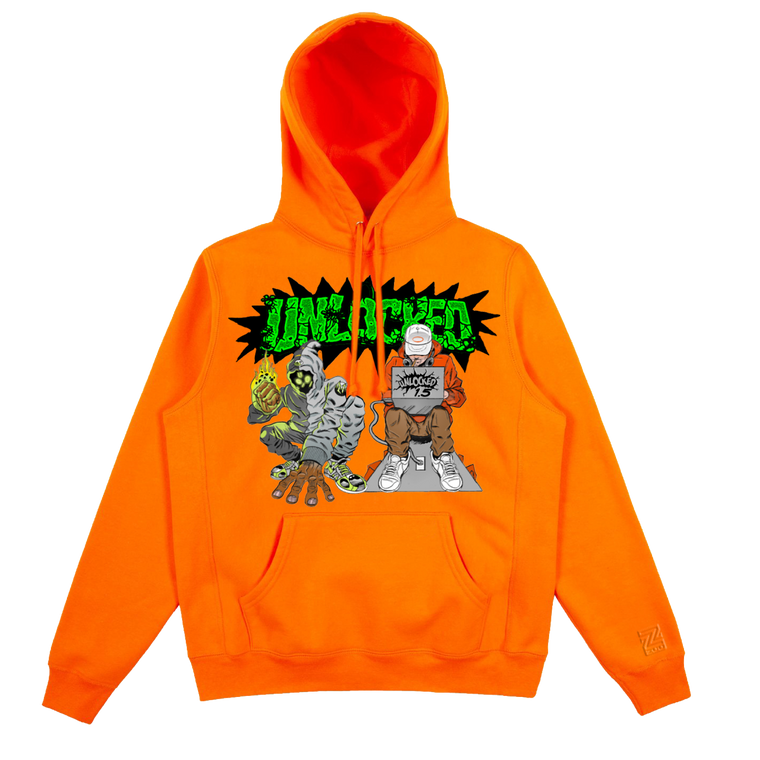 Denzel Curry & Kenny Beats - Unlocked 1.5 Safety Orange Hoodie***PRE-ORDER***