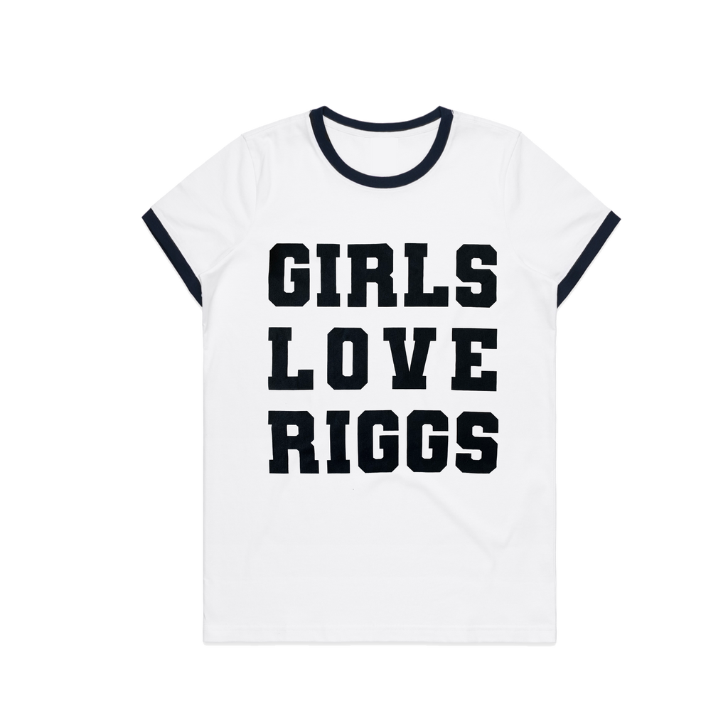Girls Love Riggs / Womens Navy and White Ringer T-shirt