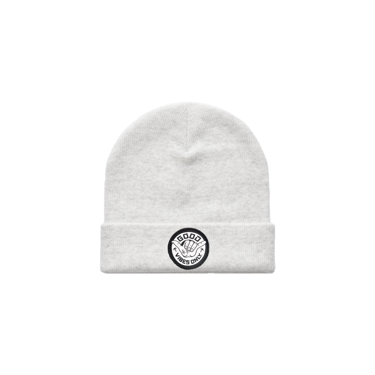 Good Vibes Only Beanie / White Marle