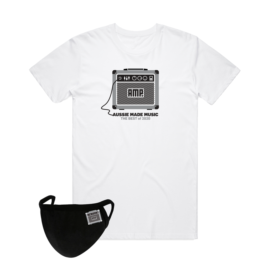 Aussie Made Music / White T-shirt w Grey + Mask