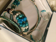 Blue Seed Bead Necklace Set