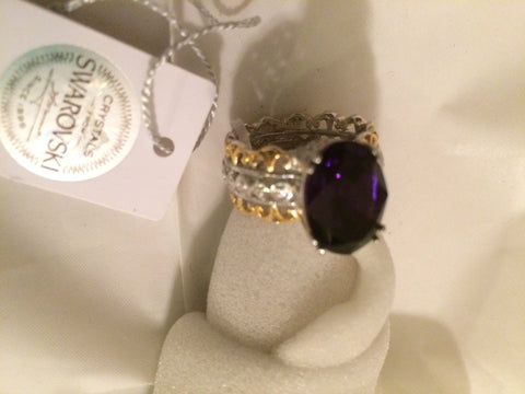 Purple Swarovski Crystal Ring