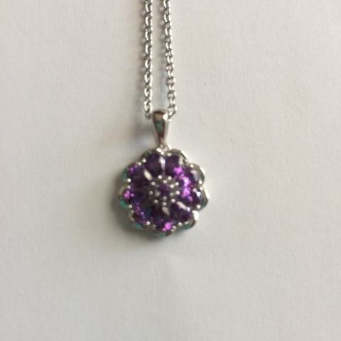 Purple Simulated Diamond Floral Pendant