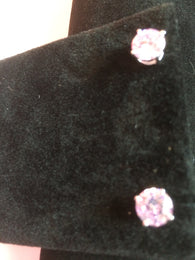Simulated Pink Diamond Sterling Silver Stud Earrings