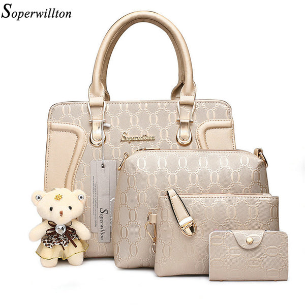 4 Pieces Women's Diamond Design Crossbody Messenger Bag With Bear Doll