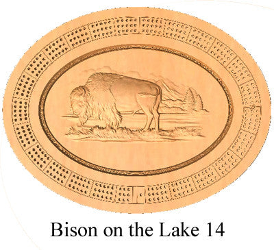 Bison on the Lake 14 Cribbage Board - Wolverine Custom Woodcraft