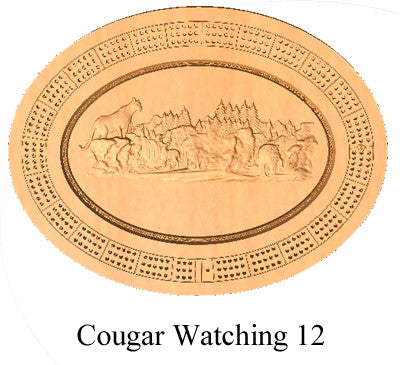 Cougar Watching 12 Cribbage Board - Wolverine Custom Woodcraft