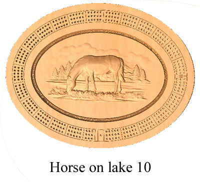 Horse on a Lake 10 Cribbage Board - Wolverine Custom Woodcraft