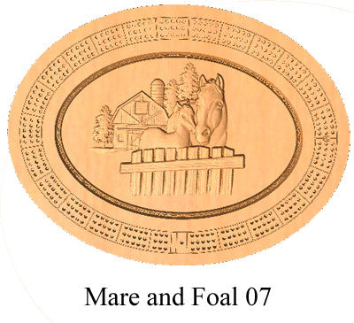 Mare and Foal 07 Cribbage Board - Wolverine Custom Woodcraft