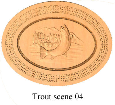 Trout Scene 04 Cribbage Board - Wolverine Custom Woodcraft
