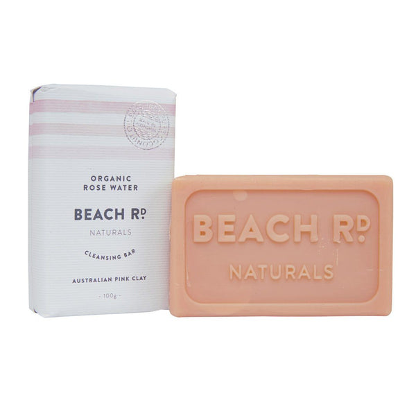 Beach Rd Naturals Cleansing Bar Organic Rosewater with Pink Clay Bar | Emporium of Natural