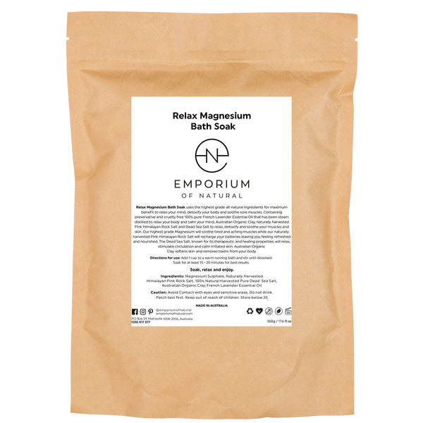 Emporium of Natural Relax Magnesium Bath Salts Pink Clay Magnesium Pink Himalayan Salt