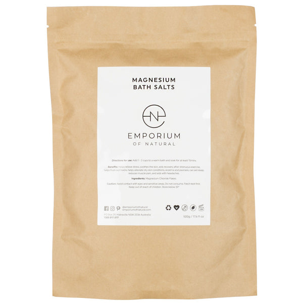 Emporium of Natural Magnesium Bath Salts Muscle Fatigue and recovery chloride flakes all natural vegan cruelty free