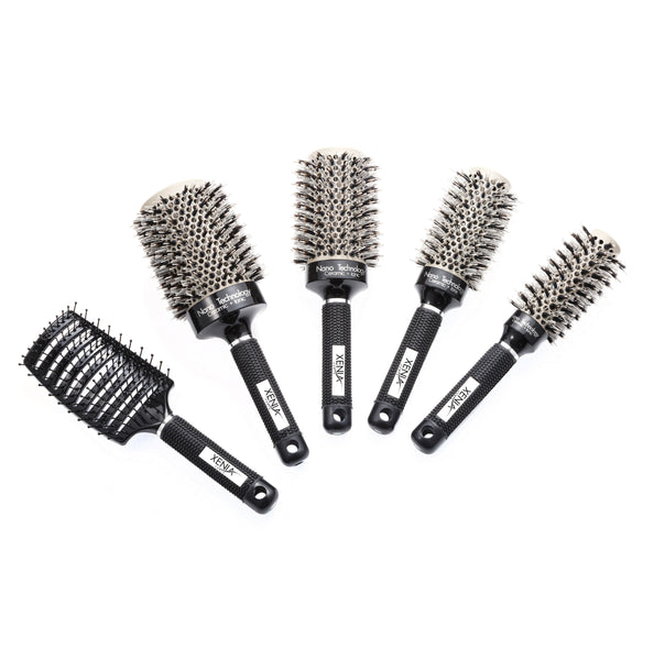 5 PCS CERAMIC IONIC PROFESSIONAL HAIR BRUSH BUNDLE