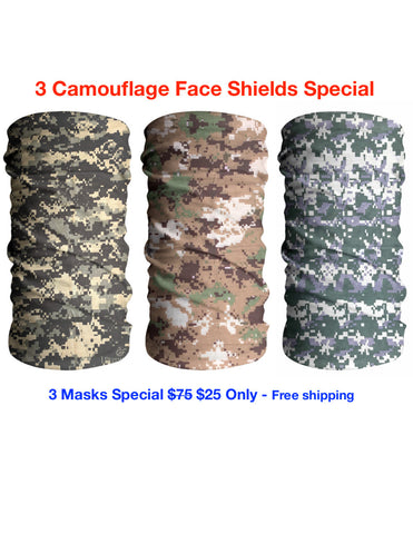 Best Camouflage 3 Pack Face Mask Sun Shield Bandana Special