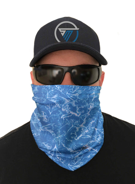 Blue Falcon Fishing Face Mask Sun Shield Bandanas