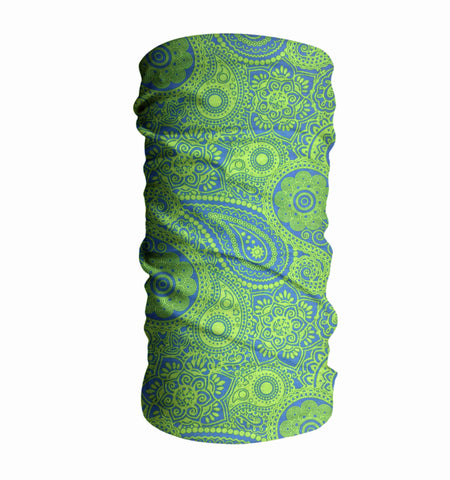 Green Curlicue Kayaking Face Mask Sun Shield Bandanas
