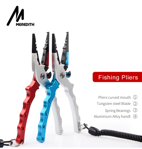 Aluminum Fishing Pliers Hook Remover Braid Line Cutting and Split Ring with Coiled Lanyard and Sheath