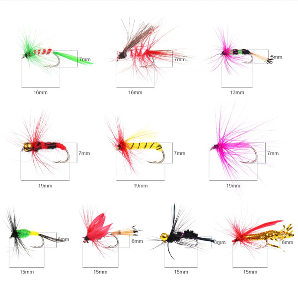 20/100pcs Fly Fishing Lure / Trout Lures Dry/Wet Flies Nymphs / Ice Fishing