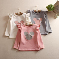 Girls Minnie Mouse Long Sleeve Frill Top