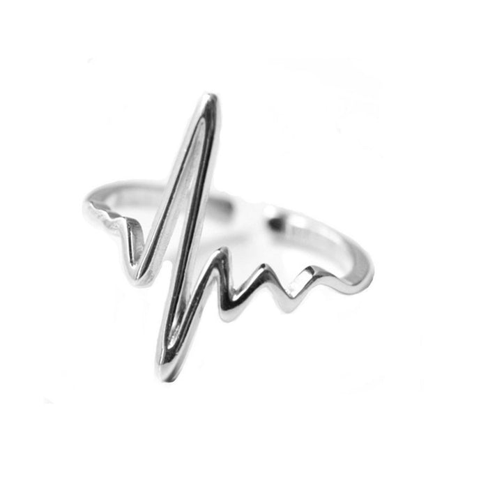 925 Sterling Silver Heartbeat Adjustable Ring