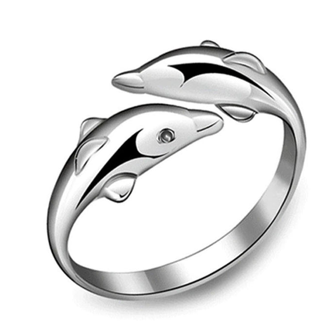 Charming Adjustable Double Dolphin Silver Plated Ring