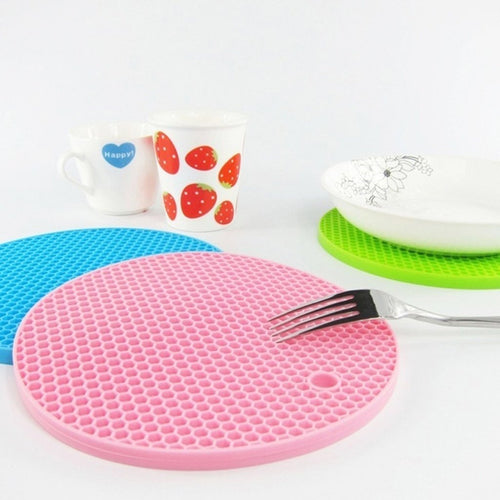 18*18cm Durable Silicone Round Non-slip Heat Resistant Mat Cushion Placemat Pot Holder