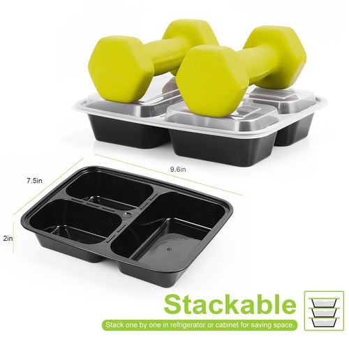 20 Pack 3 Compartment Meal Prep Containers