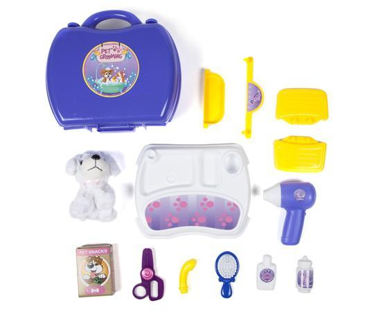 World Tech Toys Pet Grooming 16 Piece Suitcase Playset