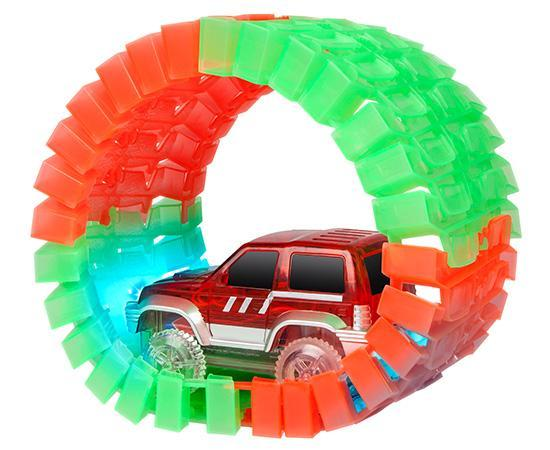 World Tech Toys Galaxy Flex-Track 220 Piece Glow-in-the-Dark with Electric LED Light Car