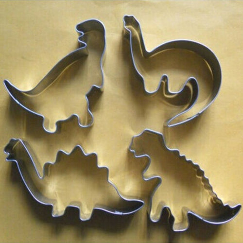 4 Pcs/Set Dinosaur Shape Stainless steel DIY Mold Baking Mould Kitchen Tools