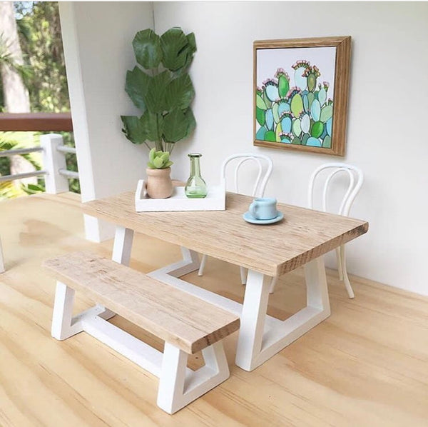 Whimsy Triangle Table & Bench (sold separately)