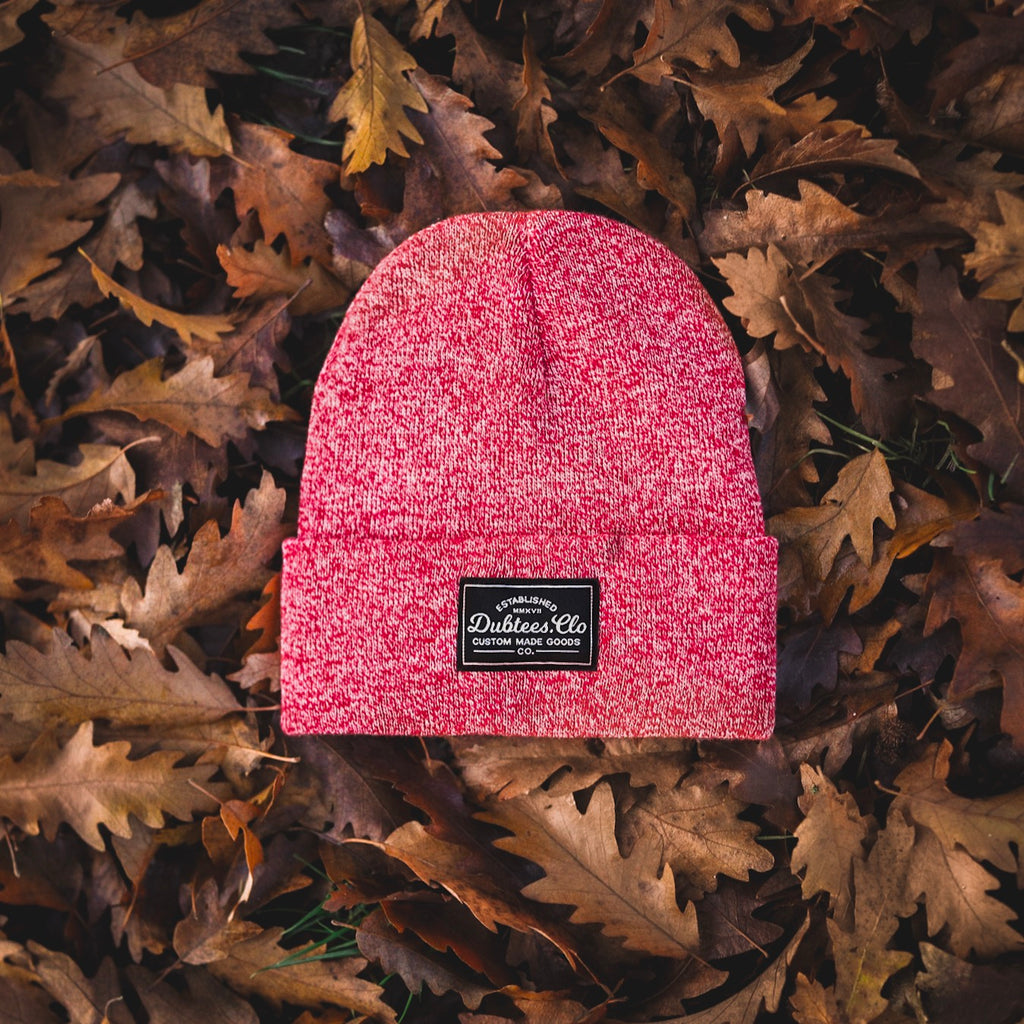 PATCH BEANIE - HEATHER RED