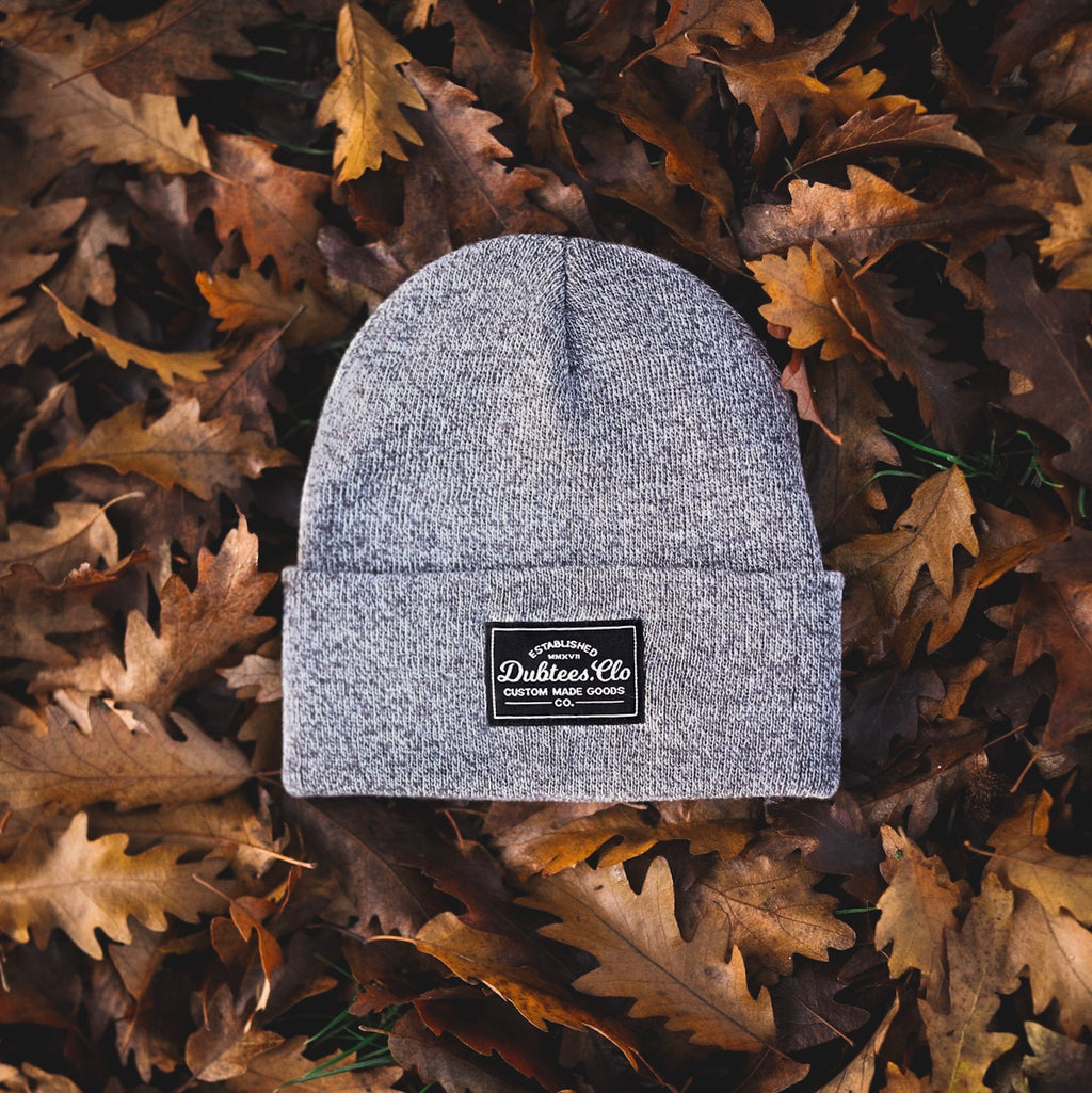 PATCH BEANIE - HEATHER GREY