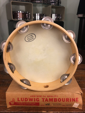 "1950s WFL Ludwig 10"" Tambourine Never Used w/ Original Box Amazing Find!"