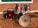 1980s Sonor Phonic Plus 4pc 9 Ply Beachwood Drum Set Red Mahogany 22/13/14/16