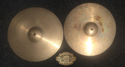 "14"" Vintage 1930's Zlidjian A First Stamp Hi Hats 588g / 690g - Inventory # 162"