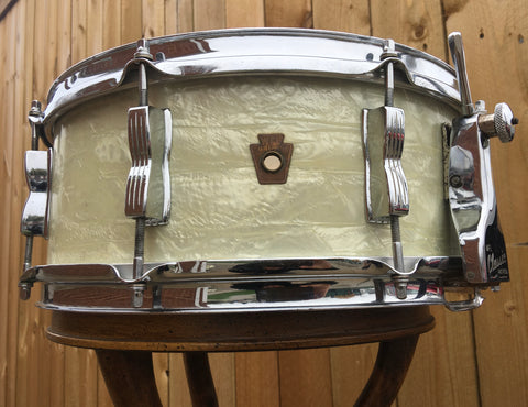 1957 WFL Ludwig 5.5x14 Buddy Rich Super Classic Snare Drum White Marine Pearl